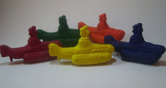 "Beatles ""Yellow"" Submarine Crayons - Set of 8 - CrayonMavens"