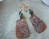 Hand-Forged Copper and Turquoise Earrings