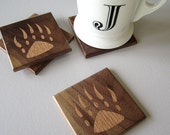 Handmade Reclaimed Wood Coasters - Eco Friendly Home Decor - Bear Claw Inlaid Design