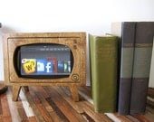 Handmade Stained Wood Retro TV  Dock for Kindle & ZTE Optic Tablets