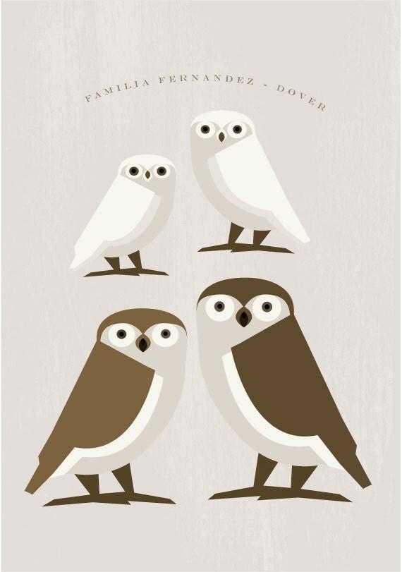 Owl family  - Custom name - Original Printable Image Download