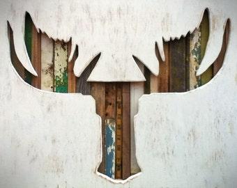 Reclaimed Wood Art - Alces - Moose - Deer - Antlers