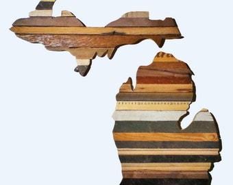 Reclaimed Wood Art - The Mitten State - Michigan