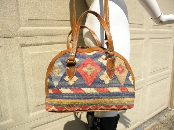 Vintage Leather & Kilim Southwestern Crossbody Bag