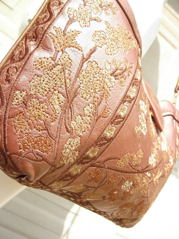 Vintage Embroidered Floral Mauve Leather Envelope Bag
