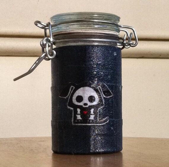 Small Glass Stash Jar w/ Fabric - Skelanimals Dog over Denim Jean Print