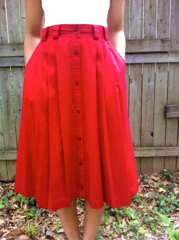 Vintage 80s Pleated Red High Waist Circle Skirt