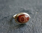 Fossil Coral in Sterling Silver, Gorgeous Stone, Unique Gift, Size 7