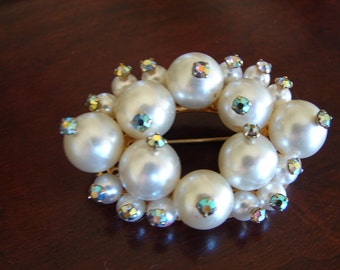 Gorgeous Pearl and Aurora Borealis Vintage Brooch