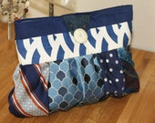 Blue upcycled mens tie clutch