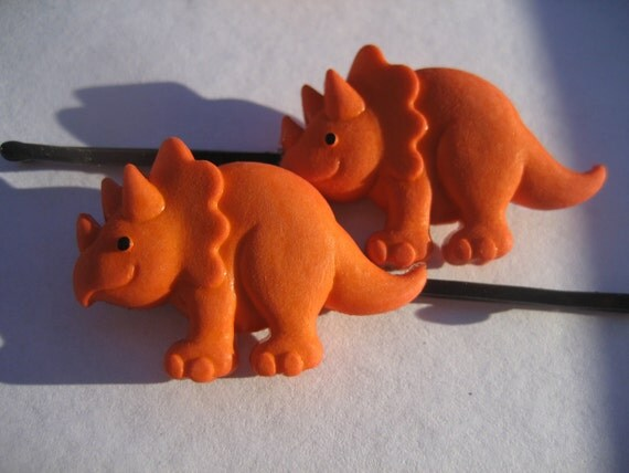 orange triceratops dino dinosaur bobby pin hair clip set xmas special read description box for details