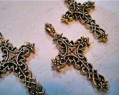 Three Metal Vintage Cross Charms Ornate, Cross Charms, Ornate Cross Charms, Metal Cross Charms, Gold Cross Charms, Gold Cross Charm Set