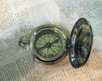 Working Silver Tone Push Button Pocket Watch Style Compass, Push Button Compass, Pocket Watch Silver, Silver Vintage Compass, Gift for Him