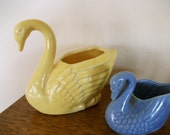 Two Vintage Swan Planters - A Sweet Pair