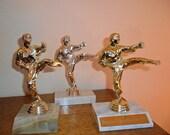Martial Arts Vintage Karate Trophies - Set of Three for Trophy Display