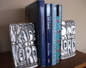 Bookends - Praise the Lord - Upcycled Silver - Religious Bookends - Jesus Loves You