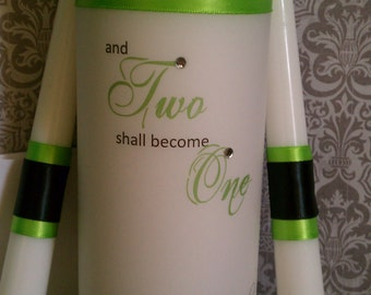 Two shall become one unity candle set