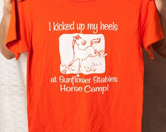 Hip Horse Tee - I kicked up my heels at Sunflower Stables Horse Camp - Orange - S