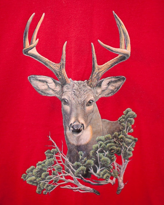 Vintage Red Tshirt with Whitetail Deer - S