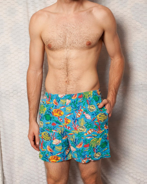 RESERVED ////// Don't Purchase //// Awesome Swimming Trunks with Tropical Fish - L
