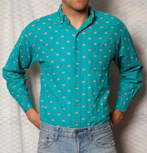 TOO SWEET - Vintage Duck Pattern Button Up Shirt - L