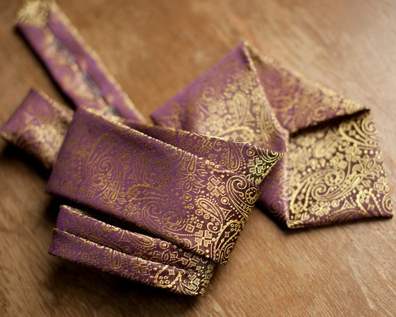 AWESOME Gold and Purple Shimmery Iridescent Tie - Prince Consort