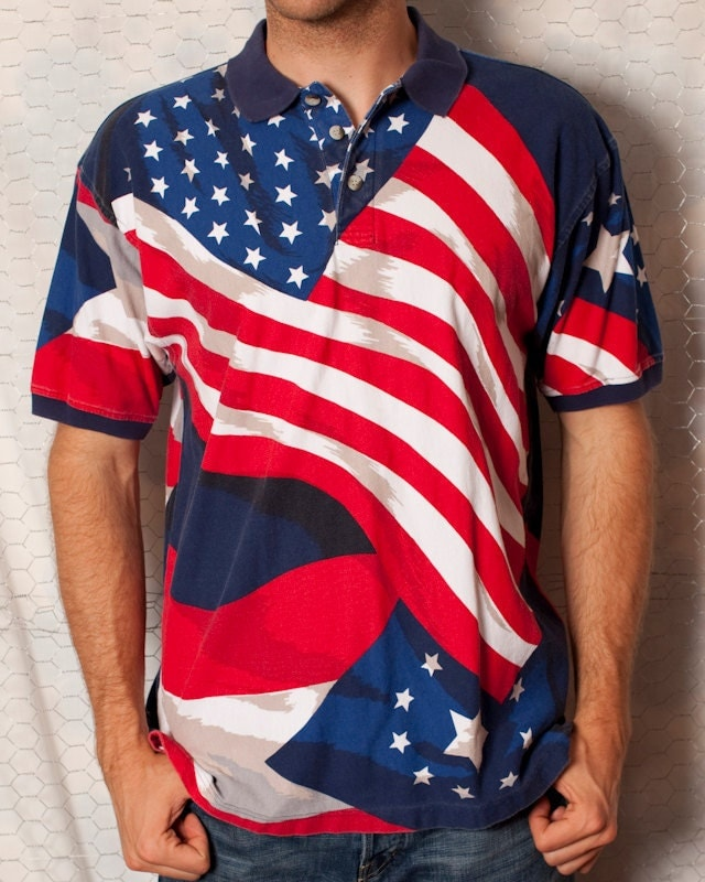 Red White And Blue American Flag Polo Shirt