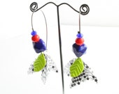 LIMITED EDITION The Rocket Ship Cobalt Blue Ceramic Bead and Flat Metal Sheet Dangle Earring