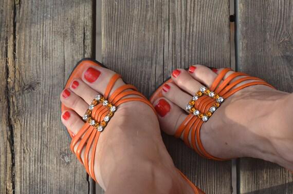 Treasury Item Uk Brand WHY NOT Retro Tangerine Summer Heels