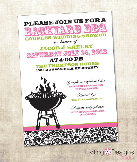 Items Similar To BBQ Wedding Shower Invitation, Couples