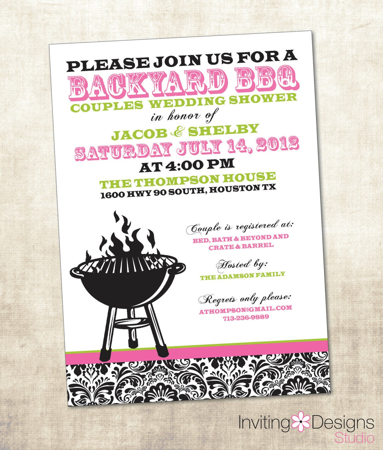 bbq wedding shower invitation couples shower invitation With couples shower wedding invitations