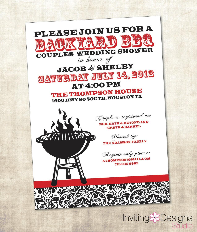 BBQ Wedding Shower Invitation Couples By InvitingDesignStudio