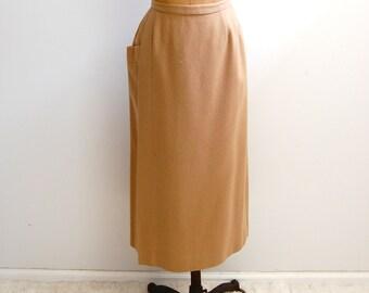 1940s - 1950s Camel Tan Pencil Skirt M - 28 inch waist