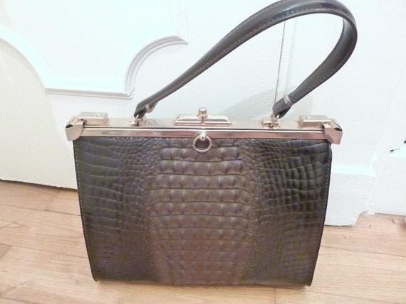 1930s 40s LARGE FRENCH faux mock alligator crocodile bag, handbag, purse