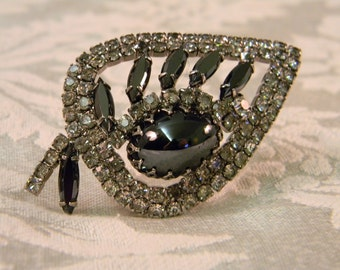 Vintage Juliana Style Rhinestone and Hematite Brooch Pin