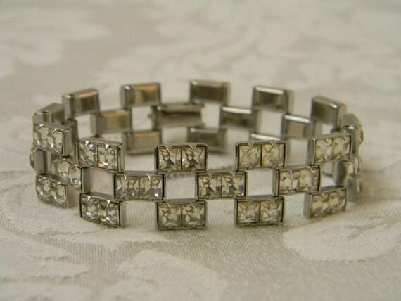 Vintage Deco Square Cut Rhinestone Bracelet
