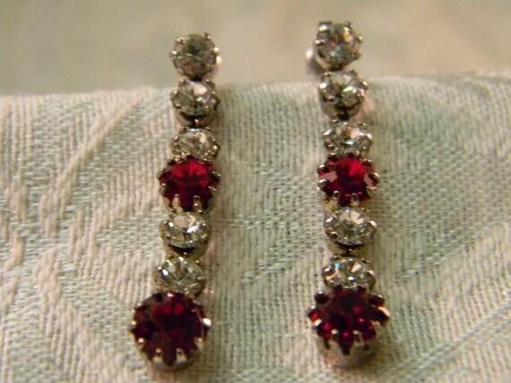 Vintage Ruby Red & Clear Rhinestone Earrings
