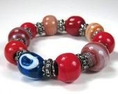 Blue Evil Eye Red Glass Handmade Bead Bracelet Good Luck Bracelet Gypsy Bracelet Evil Eye Jewelry Evil Eye Bracelet Boho Chic Style