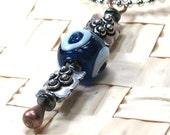 Tribal Pendant - Handmade Blue Glass Evil Eye Bead Necklace Boho Style, Good Luck Necklace