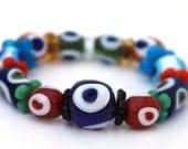 Gypsy Girl Bracelet - Handmade Glass Evil Eye Beads in Multi Color Blue Red Orange Green White