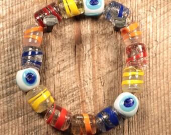 Handmade Evil Eye Glass Bead Rainbow Bracelet, Rainbow Color Bracelet
