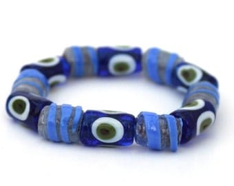 Beautiful Blue Evil Eye Bracelet - Handmade Glass Beads