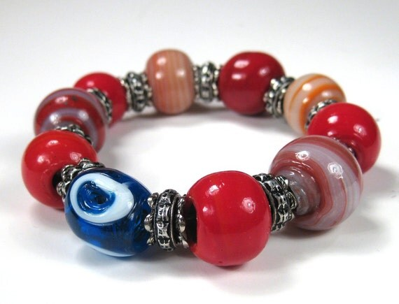 Blue Evil Eye Red Glass Handmade Bead Bracelet Good Luck Bracelet Gypsy Bracelet Evil Eye Jewelry Evil Eye Bracelet Boho Chic Style