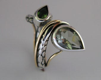 SINNERS' collection - ENVY. Etched sterling silver and 9ct gold detaling with Green Amethyst & Tourmaline.