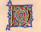 Illuminated letter D on parchment  - gold leaf and egg tempera -