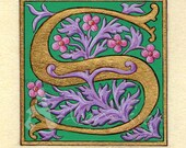 Illuminated letter S on paper faux parchment  - gold leaf and egg tempera -