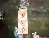 Set of 12 / Mr. & Mrs. Chevron and Kraft Decorative Gift Tag