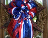 TEXAS STAR Grapevine Wreath with PATRIOTIC Bow