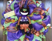Deco Mesh ANIMATED CAT HALLOWEEN Wreath