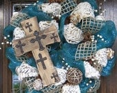 Deco Mesh Rustic CROSS, BURLAP and ANIMAL Print Wreath